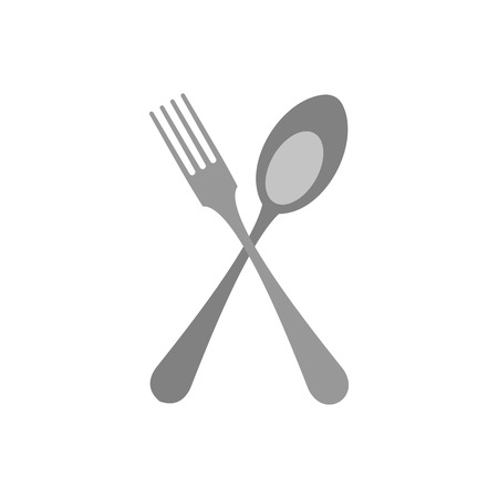 Crossed fork and spoon icon in flat style isolated on white background