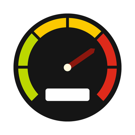 Tachometer icon in flat style on a white background