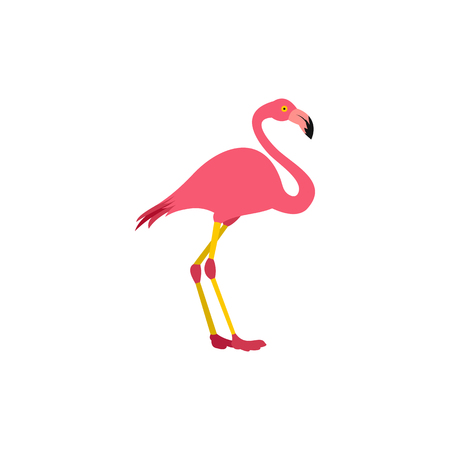Pink flamingo icon in flat style on a white background Illustration
