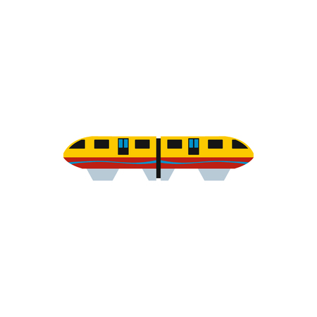 monorail: Yellow monorail train icon in flat style on a white background Illustration