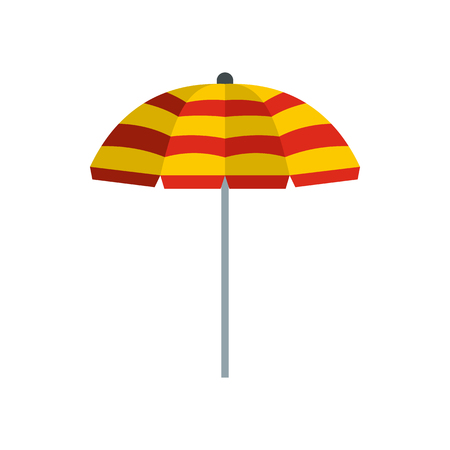 Yellow and red beach umbrella icon in flat style on a white background