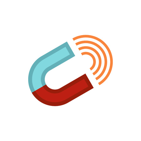 Horseshoe magnet icon in flat style on a white background