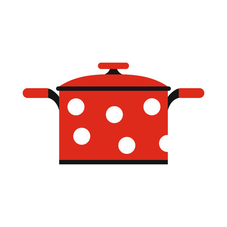 Pot with polka dots icon in flat style isolated on white background