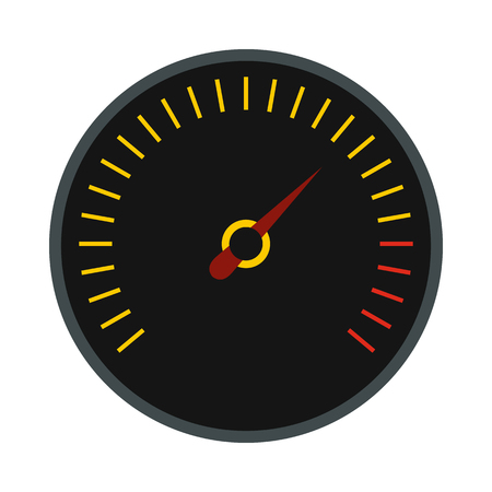 km: Black speedometer icon in flat style on a white background Illustration