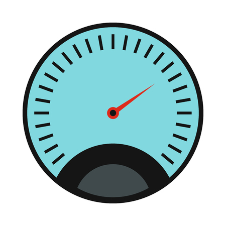 km: Speedometer icon in flat style on a white background Illustration
