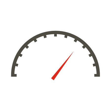 White speedometer icon in flat style on a white background