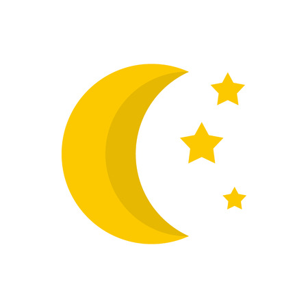 Moon and stars icon in flat style on a white background