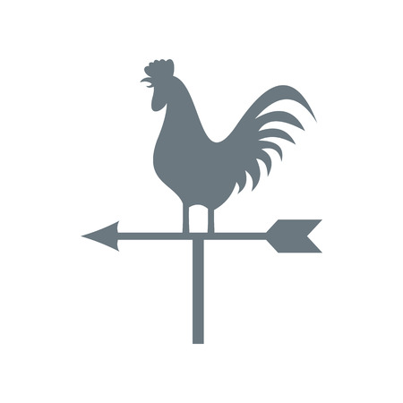 weather vane: White weather vane with cock icon in flat style on a white background Illustration