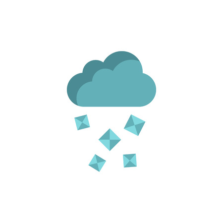 hailstone: Cloud and hail icon in flat style on a white background Illustration