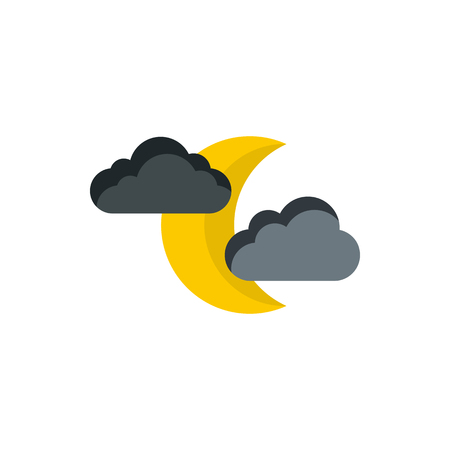 Moon and clouds icon in flat style on a white background Illustration