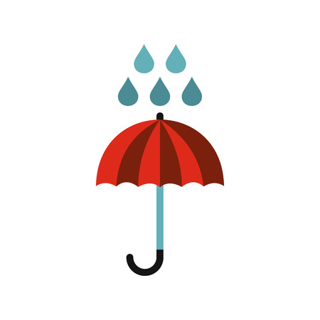Red umbrella and rain drops icon in flat style on a white background