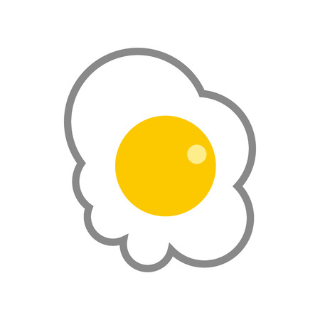 fried egg: Fried egg icon in flat style on a white background Illustration