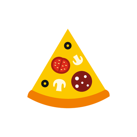 melted cheese: Slice of pizza icon in flat style on a white background