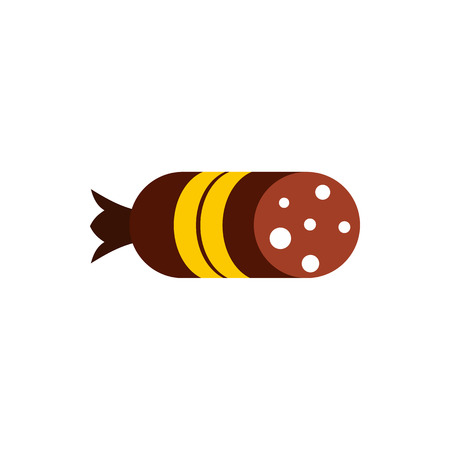 fiambres: Salami sausage icon in flat style on a white background