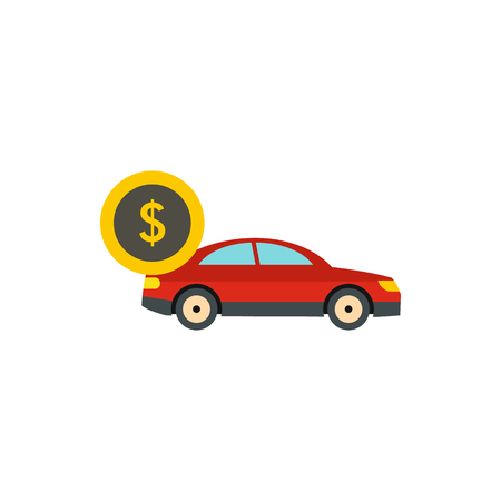 Red car and dollar sign icon in flat style on a white background Illustration