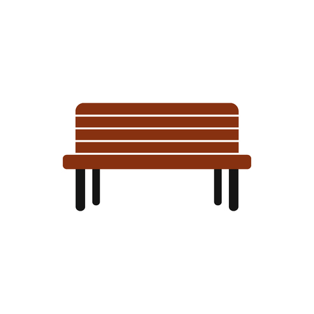 outdoor seating: Wooden bench icon in flat style on a white background Illustration