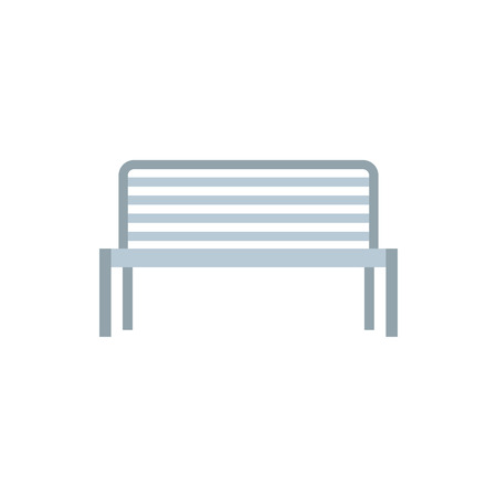 metal legs: Outdoor metal bench icon in flat style on a white background
