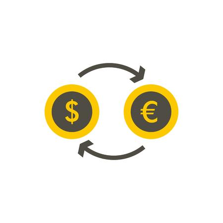 Euro dollar euro exchange icon in flat style on a white background