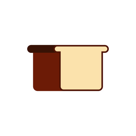 crusty: White bread icon in flat style on a white background