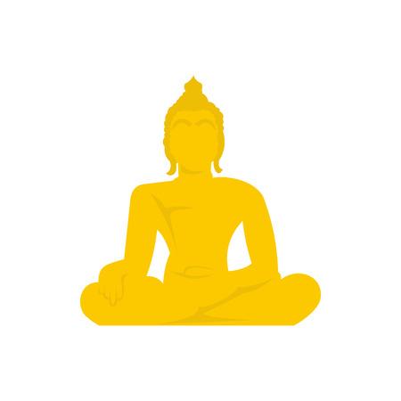 thai buddha: Buddha statue icon in flat style isolated on white background. Religion symbol