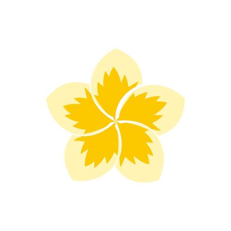 Frangipani flower icon in flat style isolated on white background. Plant symbol Vektorové ilustrace