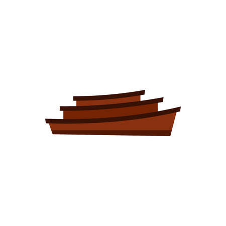 Wooden boats icon in flat style isolated on white background. Water transport symbol