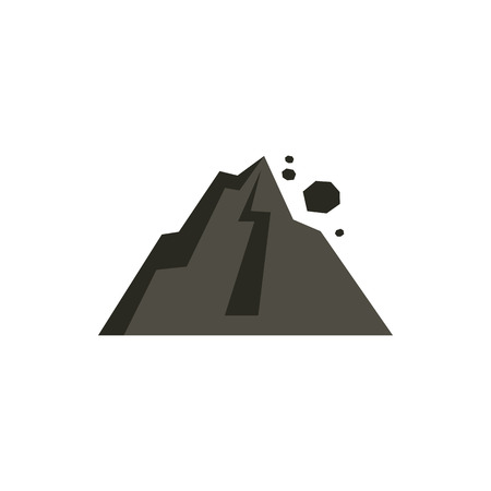 rockfall: Rockfall in mountains icon in flat style isolated on white background. Natural disaster symbol