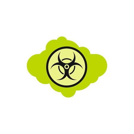 radioactive symbol: Radioactive cloud icon in flat style isolated on white background. Danger symbol