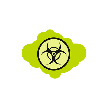 Radioactive cloud icon in flat style isolated on white background. Danger symbol