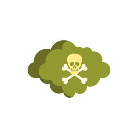 contaminate: Deadly air icon in flat style isolated on white background. Danger symbol Illustration