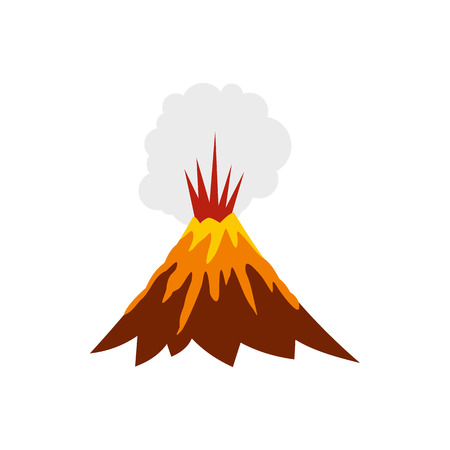 erupt: Eruption of volcano icon in flat style isolated on white background. Danger symbol