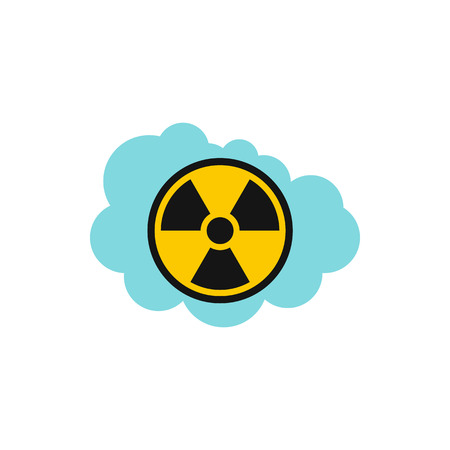 pollutant: Radioactive air icon in flat style isolated on white background. Danger symbol