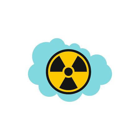 radioactive warning symbol: Radioactive air icon in flat style isolated on white background. Danger symbol