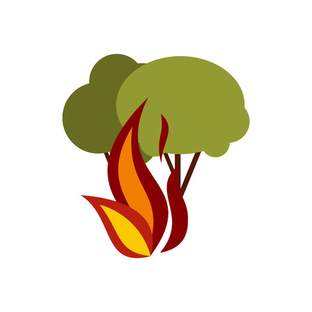 prevent: Fire in woods icon in flat style isolated on white background. Danger symbol