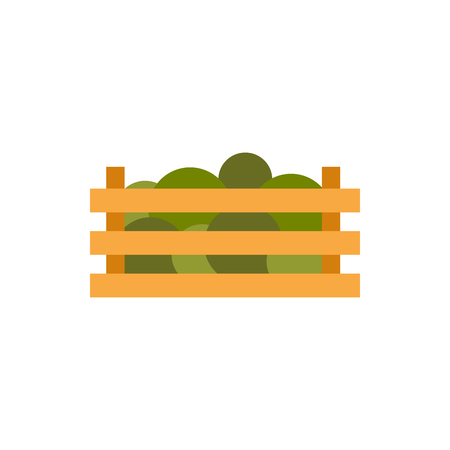 wooden crate: Wooden crate with vegetables icon in flat style isolated on white background. Food symbol