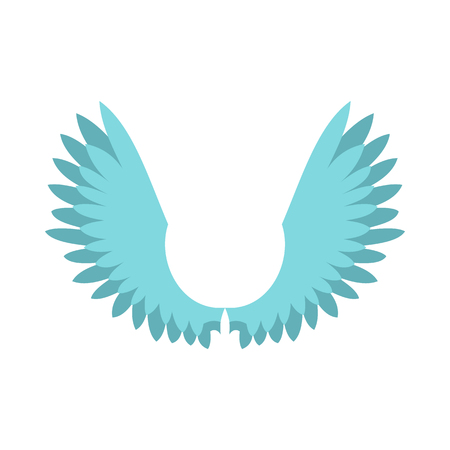 Two wings icon in flat style isolated on white background. Flying symbol