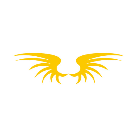Two yellow wing birds icon in flat style isolated on white background. Flying symbol