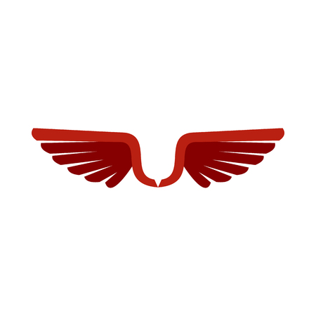 animal angelic: Two red wing birds icon in flat style isolated on white background. Flying symbol Illustration