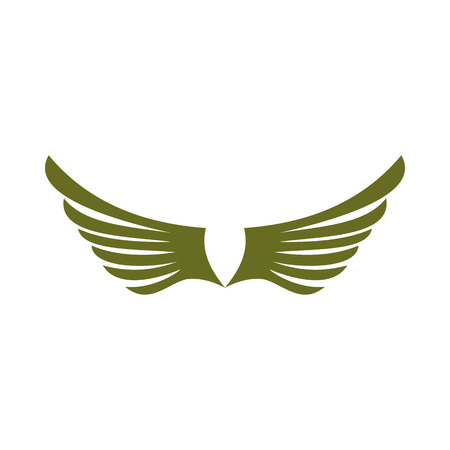 animal angelic: Two green wing birds icon in flat style isolated on white background. Flying symbol