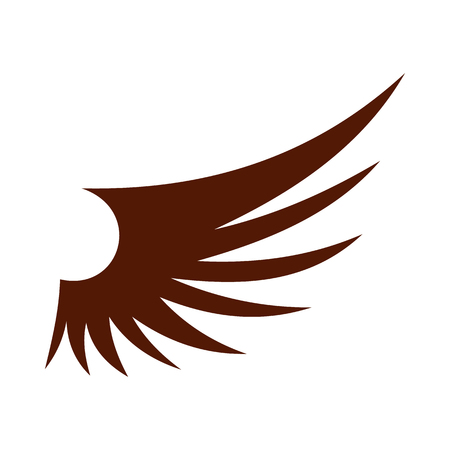 Brown wing icon in flat style isolated on white background. Flying symbol