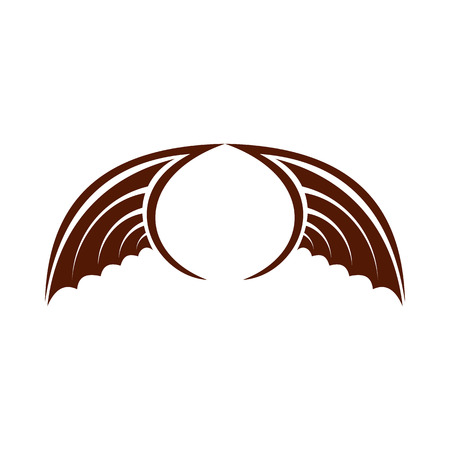 animal angelic: Two brown birds wing icon in flat style isolated on white background. Flying symbol