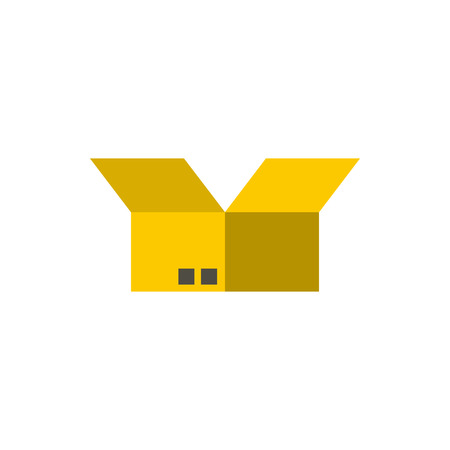 Box icon in flat style isolated on white background. Storage symbol Illustration