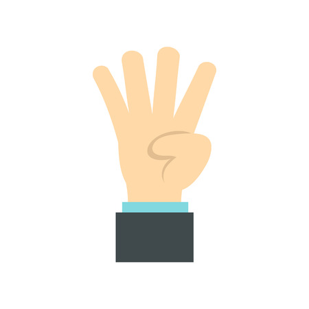 gestural: Hand gesture four fingers icon in flat style isolated on white background. Gestural symbol