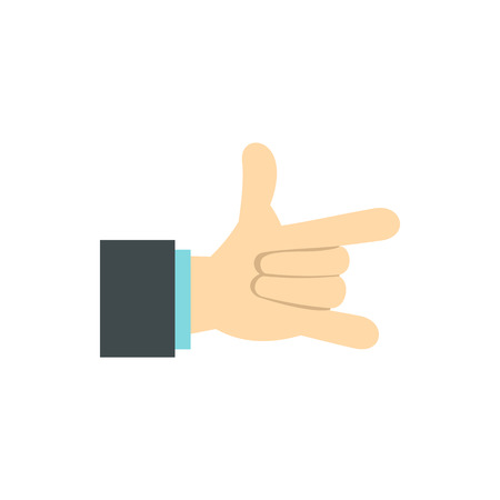 gestural: Gesture with index finger and little finger icon in flat style isolated on white background. Gestural symbol