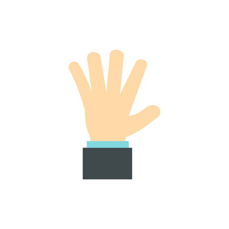 extremity: Palm up icon in flat style isolated on white background. Gestural symbol