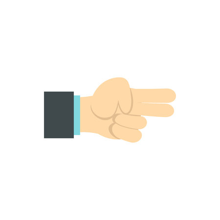 gestural: Gesture index and middle finger together icon in flat style isolated on white background. Gestural symbol
