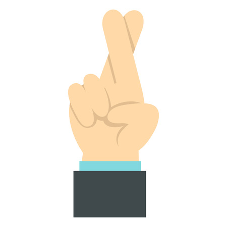 gestural: Fingers crossed icon in flat style isolated on white background. Gestural symbol