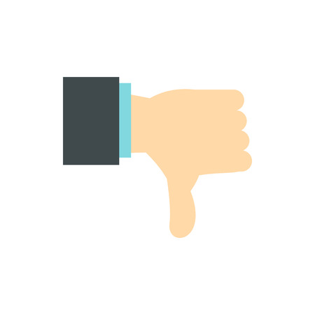 gestural: Gesture thumbs down icon in flat style isolated on white background. Gestural symbol