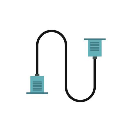 vga: Cable de VGA icono de estilo plano aislado en el fondo blanco. símbolo de cable