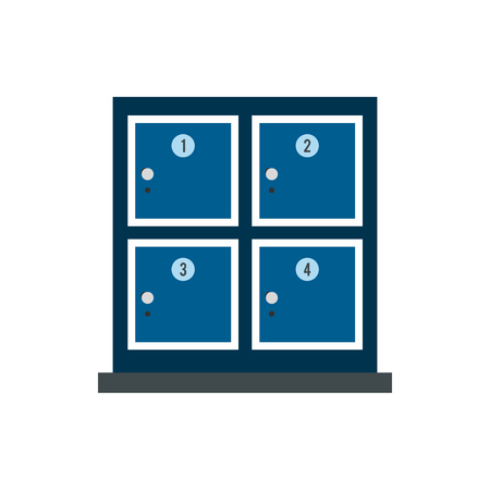 put the key: Cell for storage bags in store icon in flat style isolated on white background. Shopping symbol
